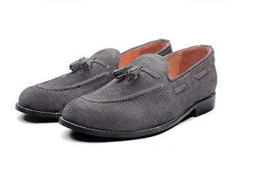 Hampton Suede Tassel Loafers - Charcoal Grey - Dapperfeet