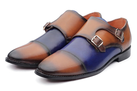 Baldwin Monk Straps - Tan/Blue - Dapperfeet