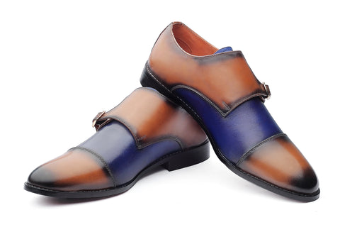 Baldwin Monk Straps - Tan/Blue