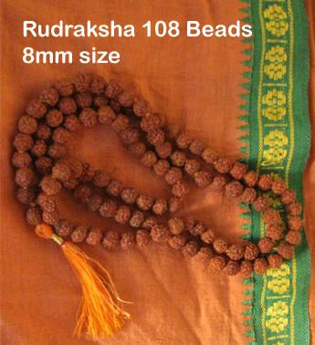 Rudraksha Mala 108 8MM (5 mukhi): Medium Size Beads
