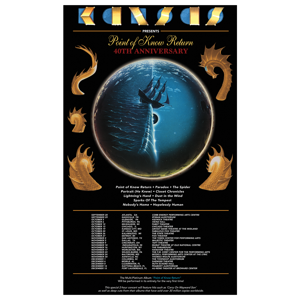 KANSAS - 2018 Point of Know Return Tour Poster
