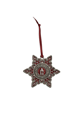 Red Enamel Snowflake Ornament