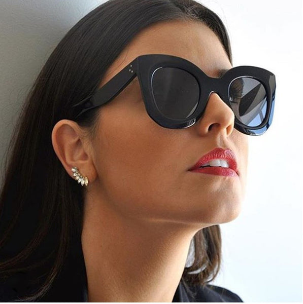 Women Luxury Brand  Big Frame  Cat Sunglasses