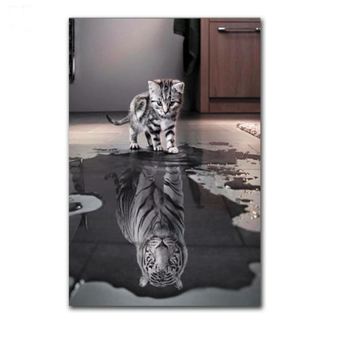 Cat Picture Water Reflection Painting  - When I Grow Up...