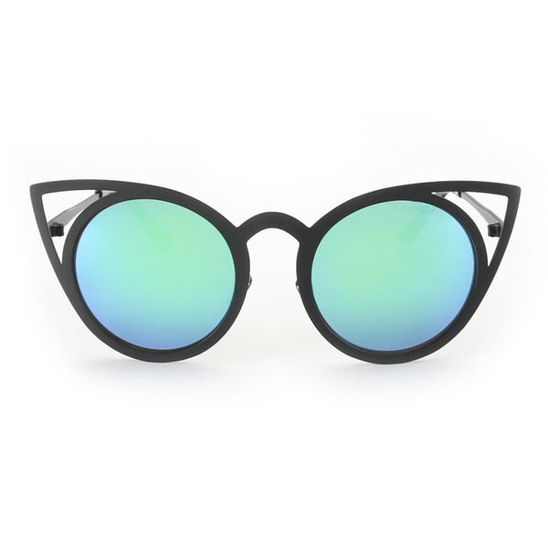 New Women Vintage Metal Framed Mirror Cat Eye Sunglasses