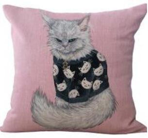 Farm Cat Printing Linen Square Throw Pillow