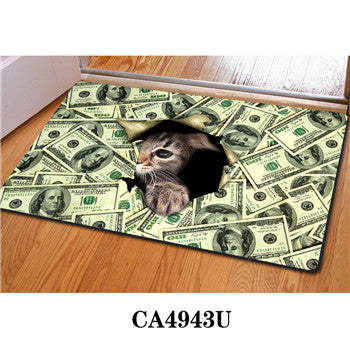 3D Cat Money Floor Mat