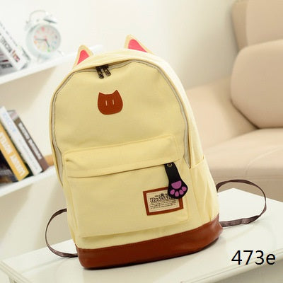 Young Woman Canvas Cat Backpack
