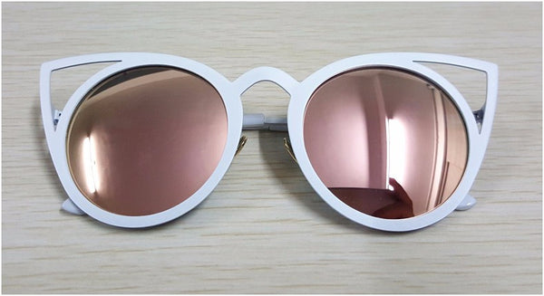 New Women's Vintage Metal Framed Mirror Cat Eye Sunglasses