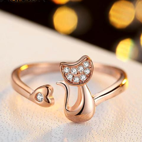 Cubic Zirconia Crystal Inlaid  Cat Ring for Women/Girls