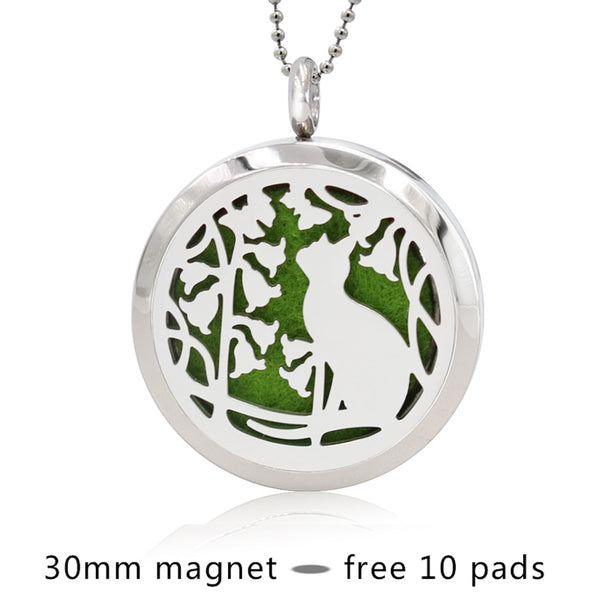 Cat And Flower Stainless Steel Perfume Locket