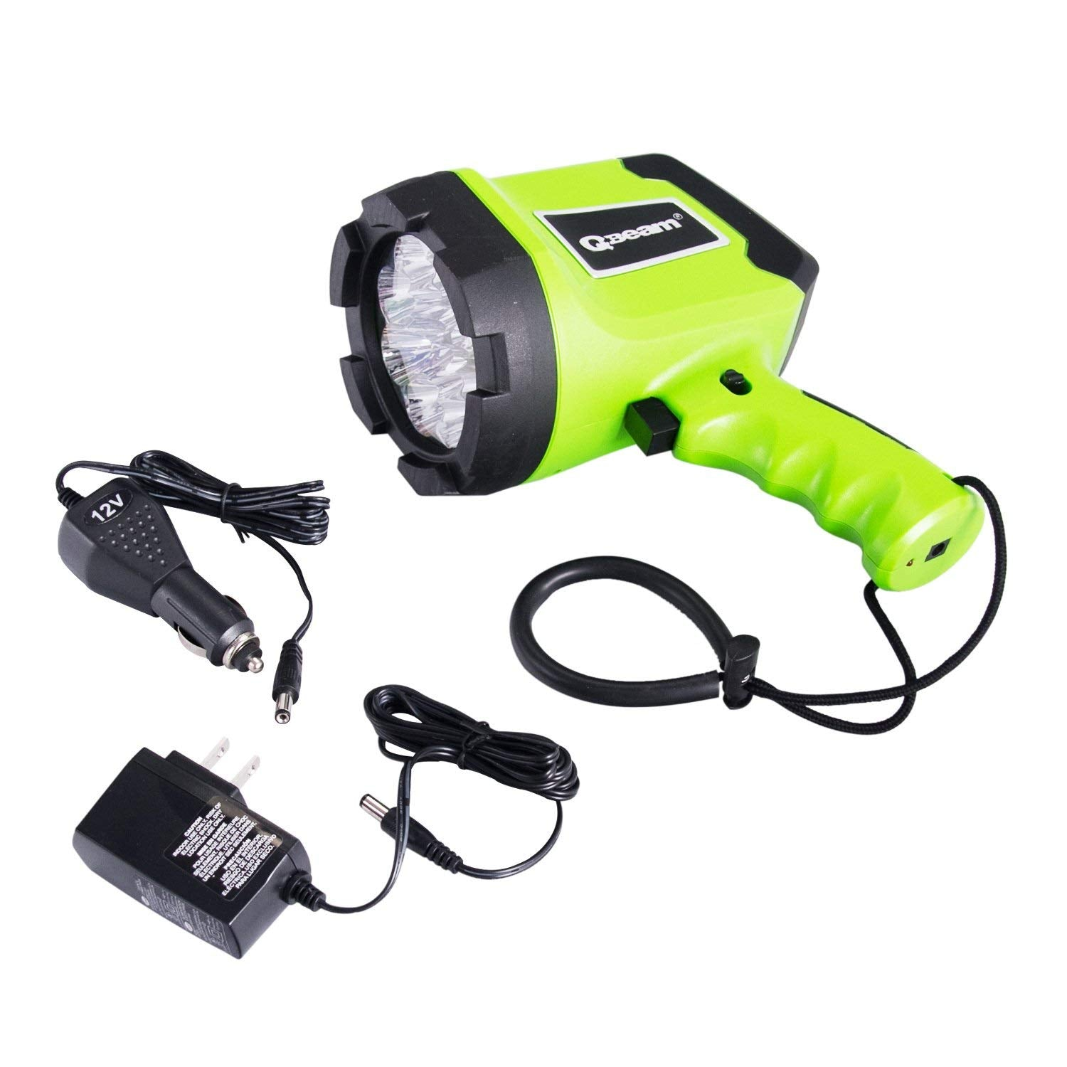 Qbeam LED Rechargeable Spotlight ,12 LED Spotlight Offroad Automotive/Garage /Emergency/ Boating/Fishing/Hunting/Camping/Hiking/Patrolling 800-2701-1