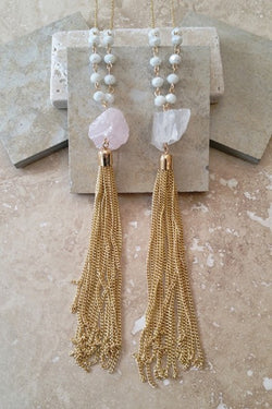 Gem Stone Tassel Necklace