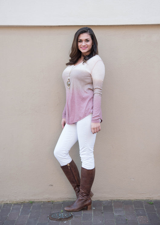 Madelyn | Long Sleeved Ombre Top