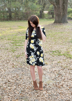 Camille | Black and Yellow Flower Dress