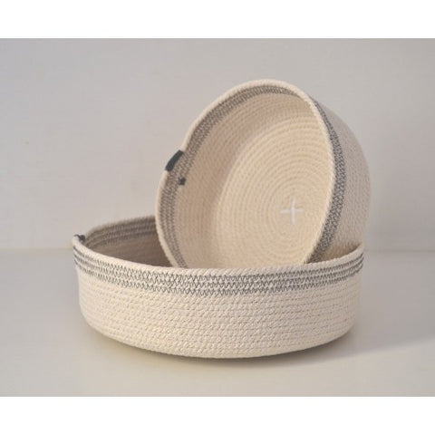 Cotton cord bowl with grey detail
