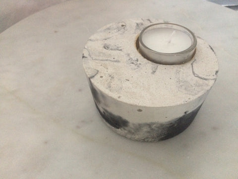Off Centre concrete tealight holder