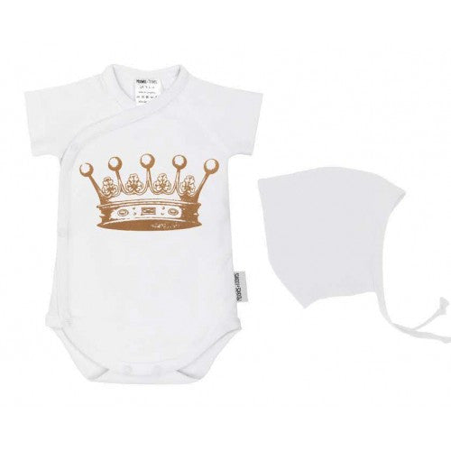 Baby bodysuit and hat set-crown
