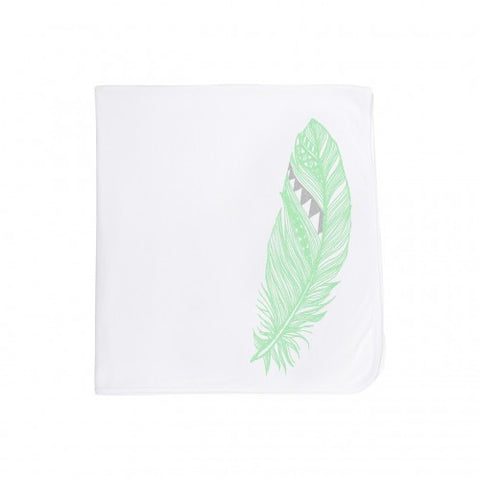 Organic Cotton Baby Blanket-Mint Feather