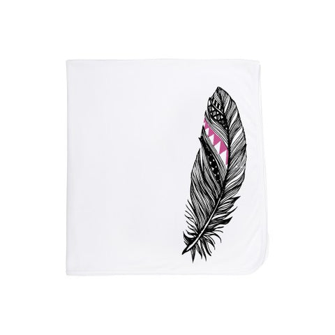 Organic Cotton Baby Blanket-Black and Pink feather