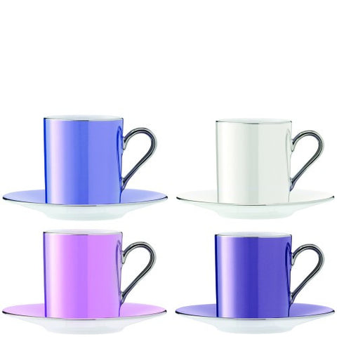 Polka pastel coffee cup and saucer set