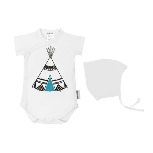 Baby bodysuit and hat gift set-tepee