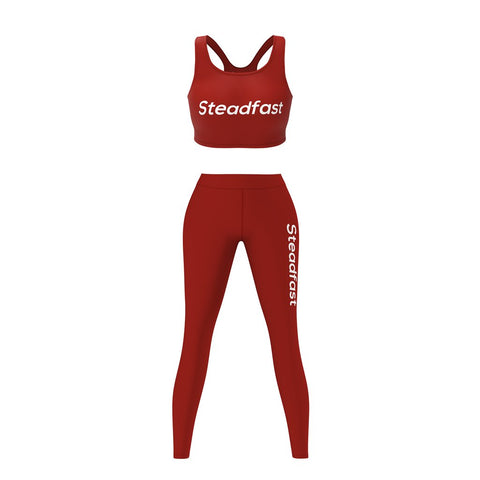 Steadfast Maroon Crop Top Leggings Set