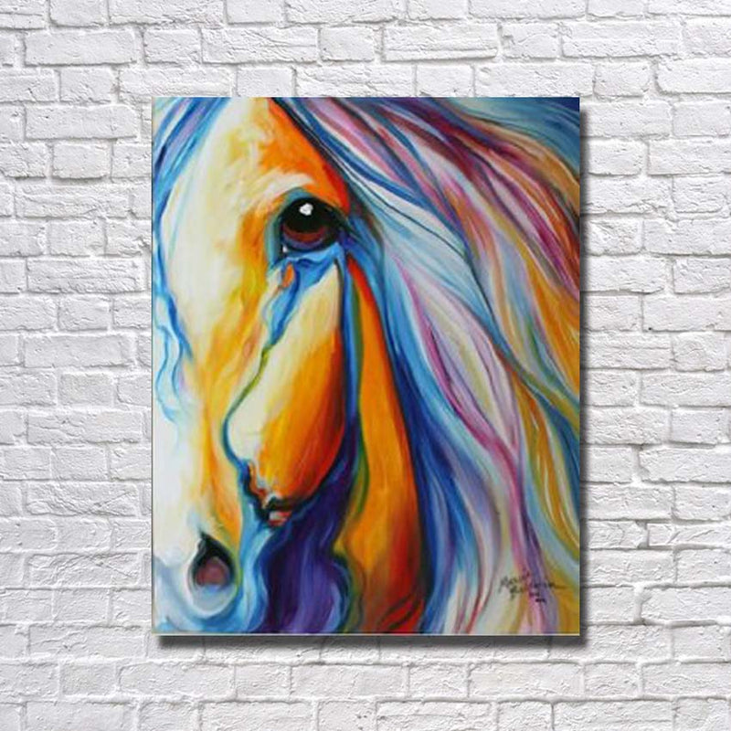 Colorful Horse - Framed Canvas Wall Art - Vegan