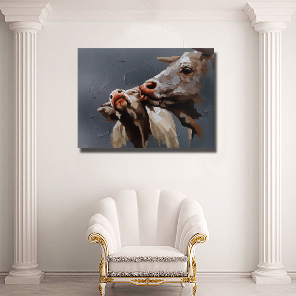 Calf Kiss - Cow oil painting - Vegan wall art - gift idea