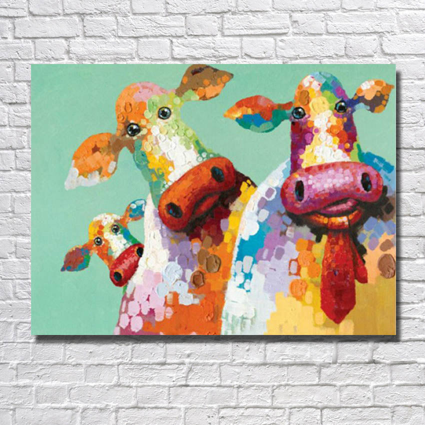 Family of Three - cows - Vegan wall art - Gift Idea