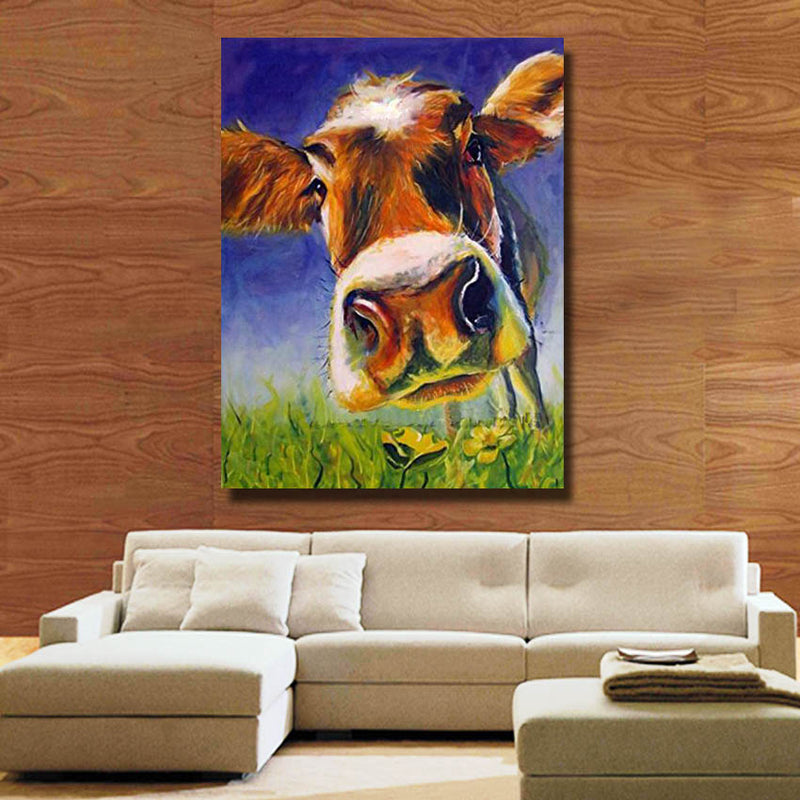 Curious Cow - Framed Canvas Vegan Wall Art - Gift
