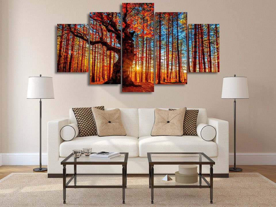 Autumn Forest - inspiring framed canvas wall art - vegan gift