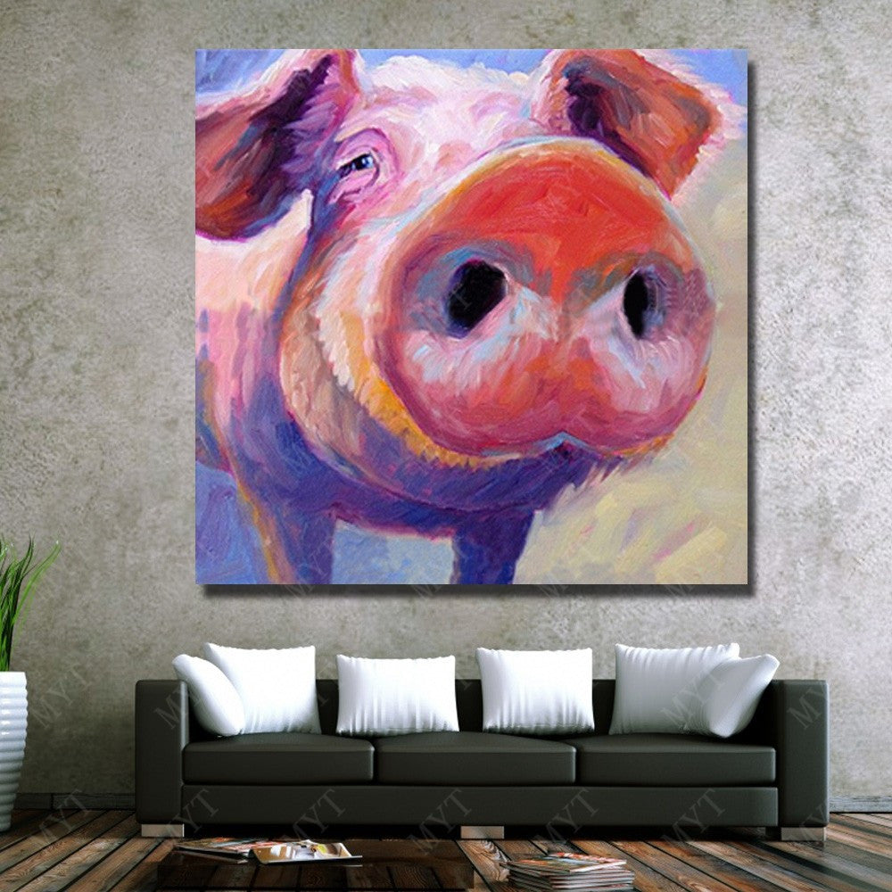 Vegan Wall Art - Pig Oil Painting - Vegan gift - room decor