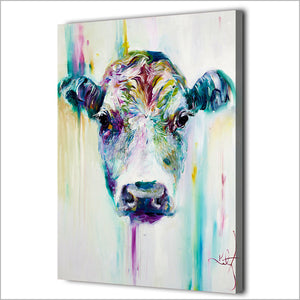 Cow Framed Canvas Wall Art - Vegan Gift - Rainbowgrove Dreams