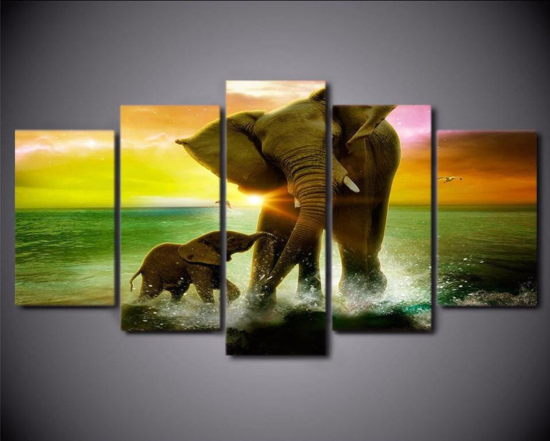 Elephants - Framed Vegan Wall Art - Vegan Gift Idea