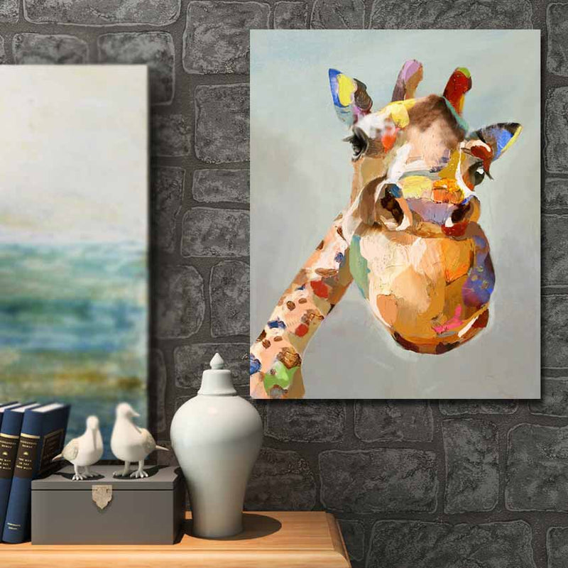 Giraffe Oil Painting - Wall Art on Canvas - Vegan Nature Inspired
