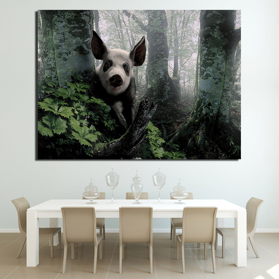 Framed Pig Wall Art - Vegan Gift - Canvas Picture