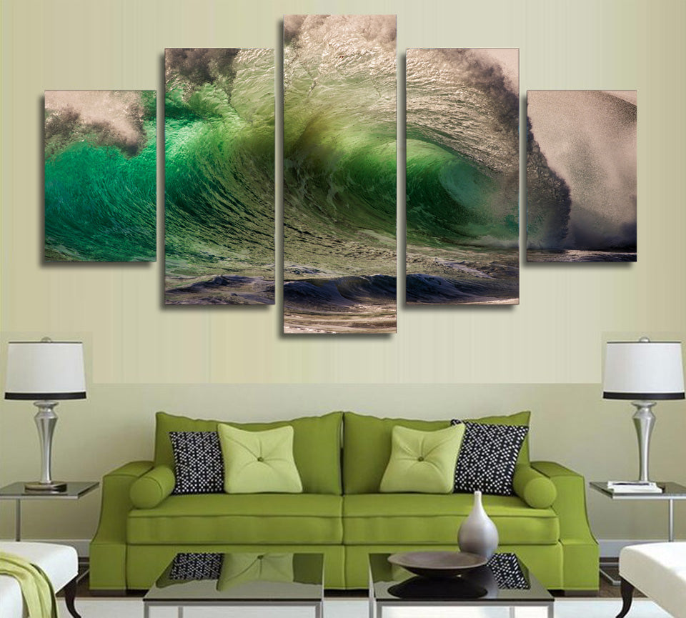Emerald Swirl Wave - Nature Inspired - Canvas Wall Art