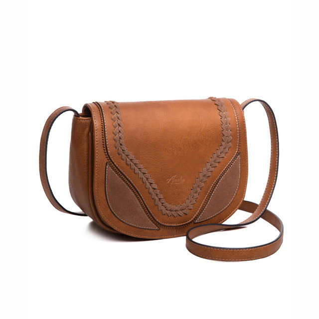 Vintage Stitched Saddle Bag - Vegan Hand Bag - Vegan Gift
