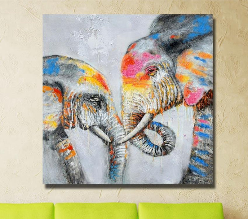 Loving Tusks - Elephant Oil Painting - Vegan Art work