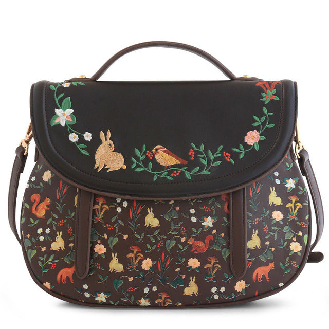Embroidered Vintage Saddle Bag - Vegan Hand Bag