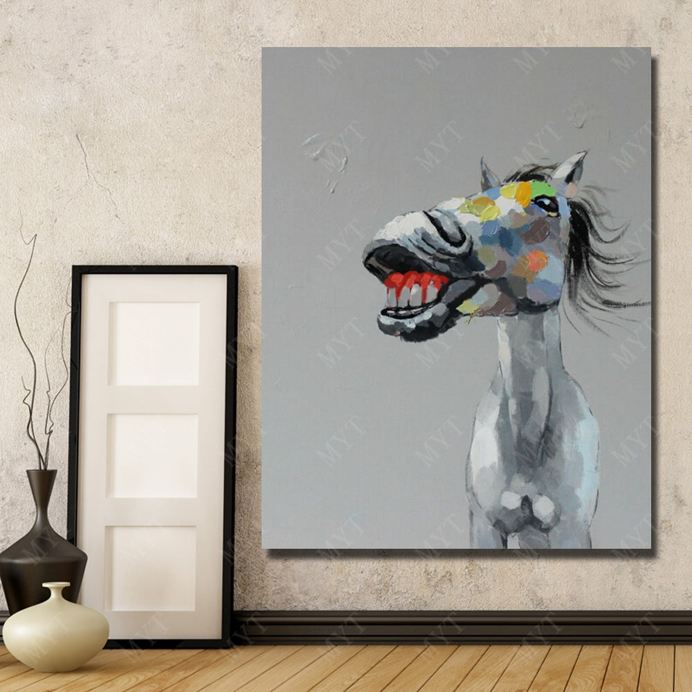 Smiling Horse - Framed Canvas Vegan Wall Art -Gift Idea