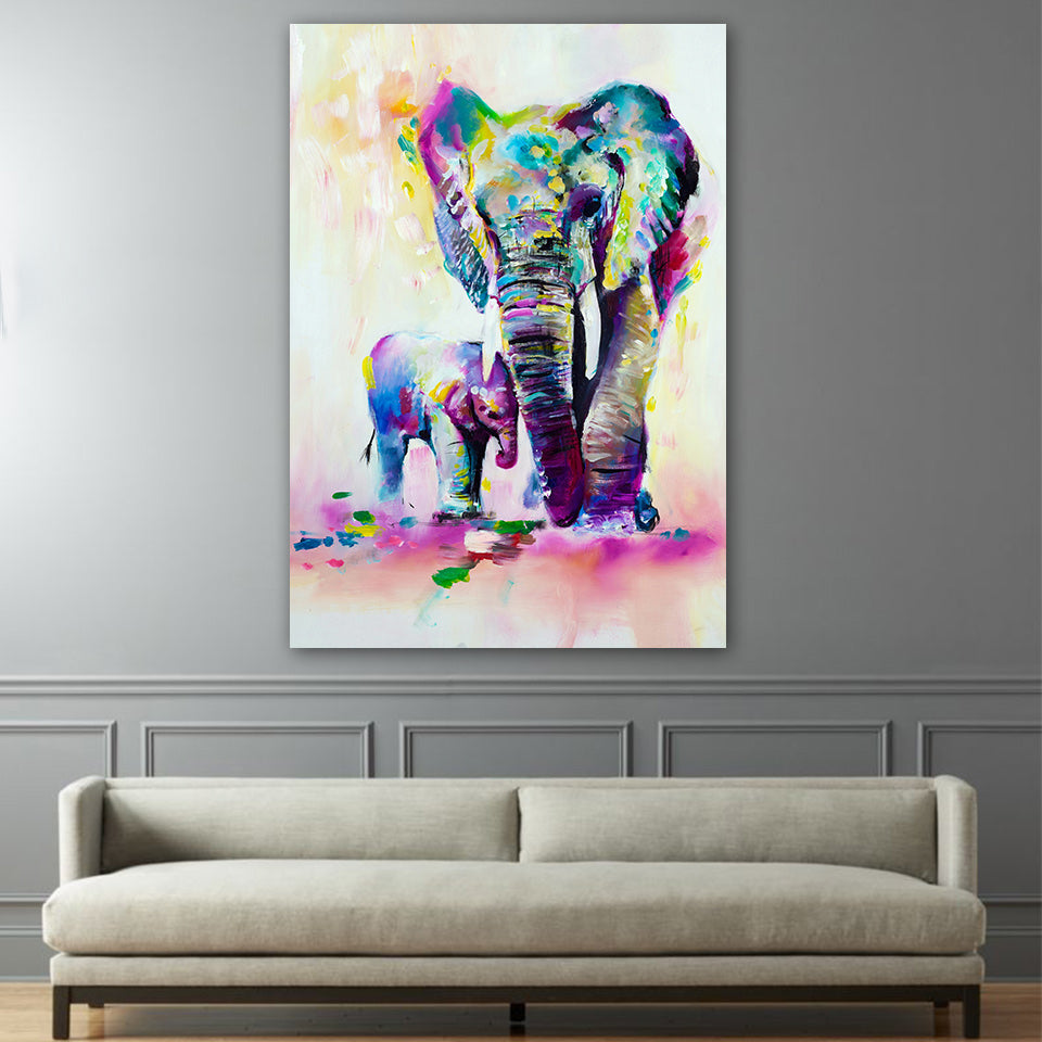Elephants in Color - Vegan Wall Art - Gift Idea