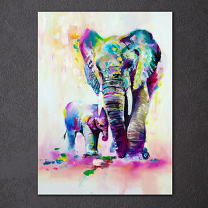 Elephants in Color - Framed Canvas Wall Art - Vegan