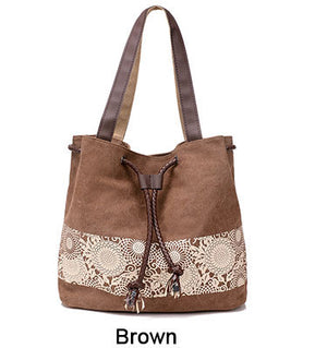 Canvas Flower Mandala Handbag