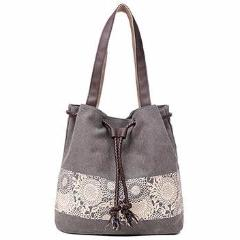 Canvas Flower Mandala Bag - Vegan Handbag