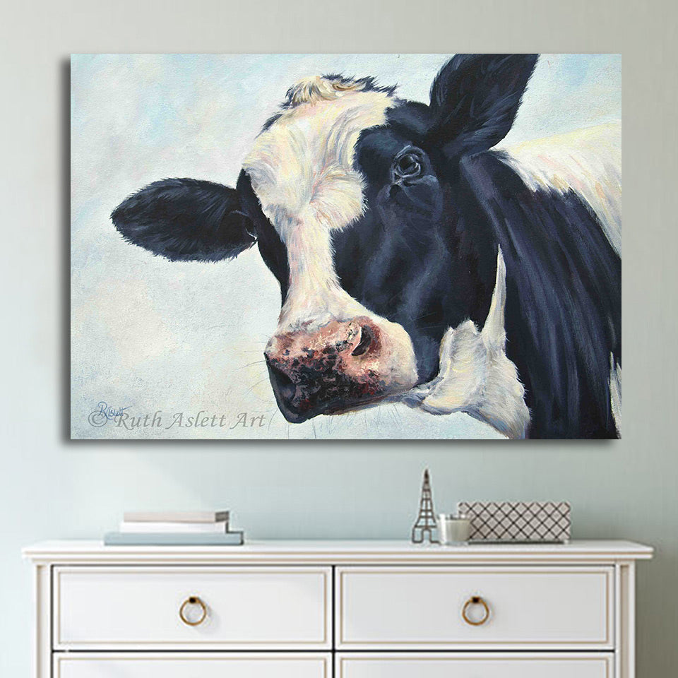 Cow Wall Art on Canvas - Vegan Gift - Home Decor