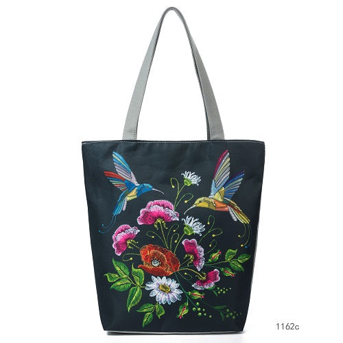 Floral Canvas Shoulder Bag