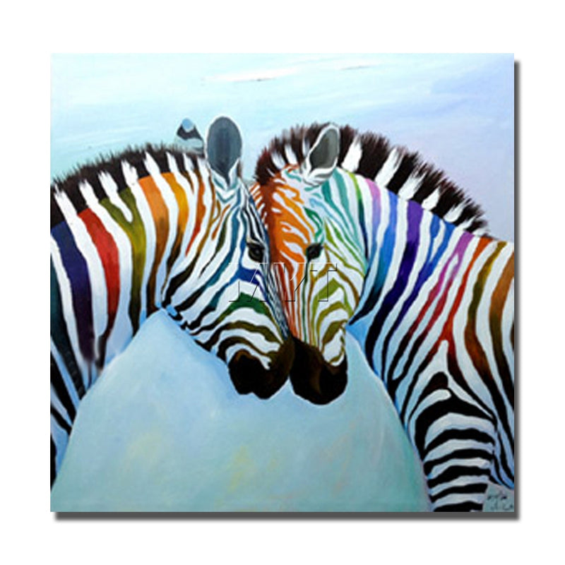 Rainbow Zebras - Oil on Canvas
