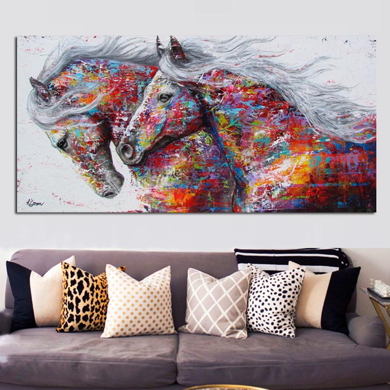 Rainbow Horses - Animal - Vegan Wall Art - Gift Idea